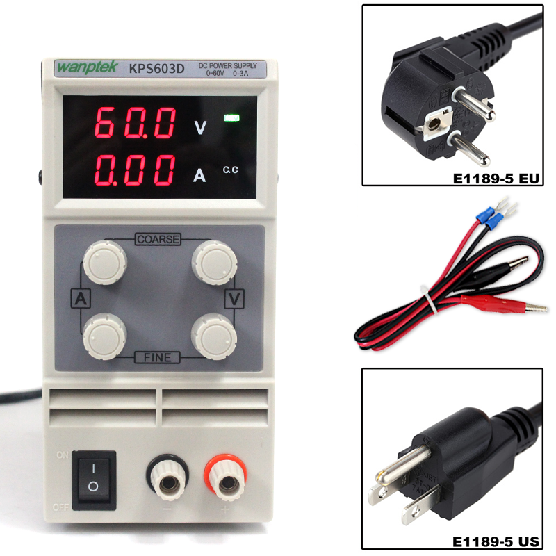 KPS603D Adjustable precision double LED display switch DC Power Supply protection function 0-60V/0-3A 110V-230V 0.1V/0.01A EU