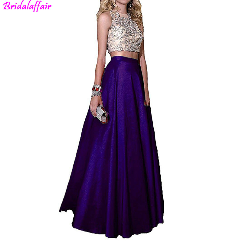 2019 robe De soirée pour femmes De Festa cristal perlé corsage robe De soirée formelle robe 2 pièces noir robes De bal longue robe De bal - 6