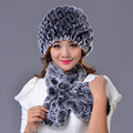 Rex Rabbit Fur Hat Scarf Set For Women Winter Warm Muffler Set Real Fur Cap Striped Elegant Flower Fashion Fur Hat Scarf