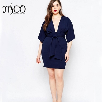 Autumn Sexy Plunge Deep V Neck Wrap Mini Party Dress Spit Kimono Sleeves  Plus Size Slim de78c5809546