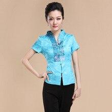 ฤดูร้อนใหม่ผู้หญิงสไตล์จีนซาตินรสสูทเสื้อท็อปส์วินเทจแบบดั้งเดิมจีนเสื้อยืดMl XL XXL XXXL 4XL T07
