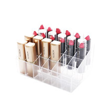 Transparent 24 Grids Acrylic Makeup Organizer Lipstick Holder Display Rack Case Cosmetic Nail Polish Make Up Organiser Tool(China)