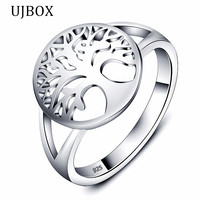 UJBOX 925 Sterling Silver Tree Of Life Rings For Women Wedding Engagement Jewelry Statement Jewelry US