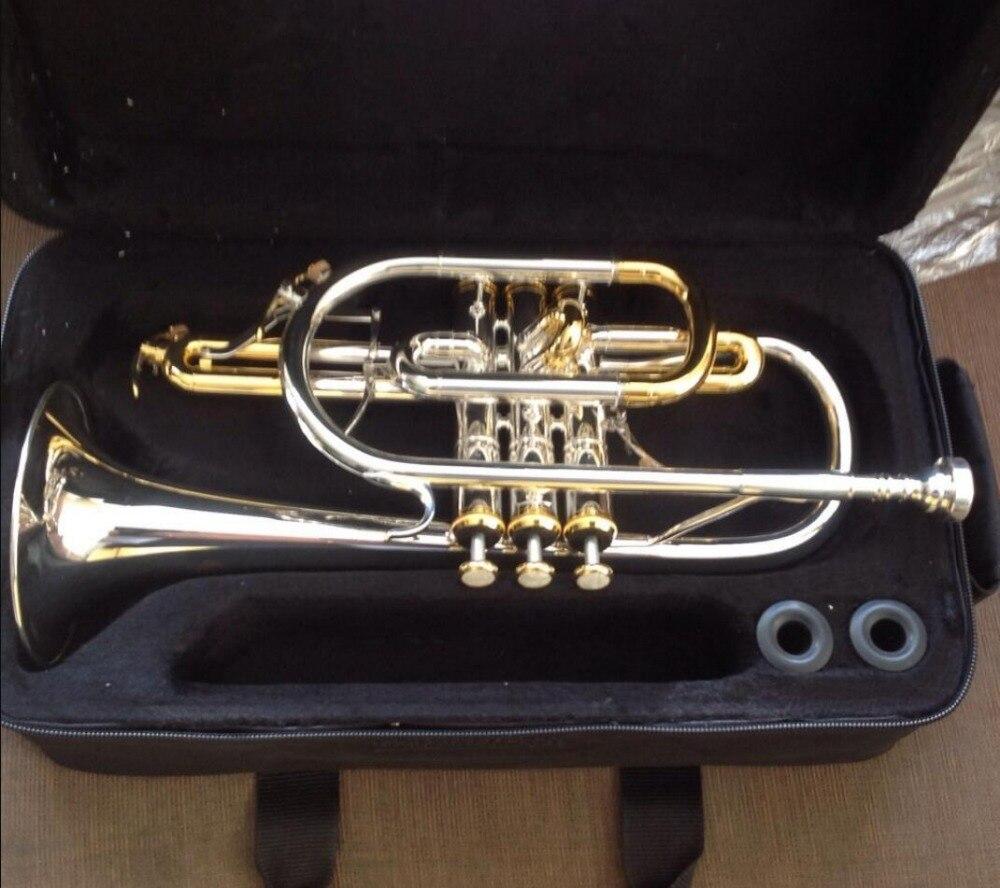 Trompette Instrument de musique B Double gâchette Cornet plaqué argent appuyez sur la touche sur la Surface de l'or
