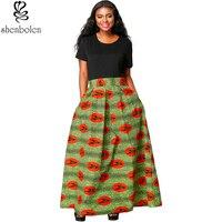 Shenbolen African skirt for Women New Fashion Print maxi Long Skirt Traditional Clothing