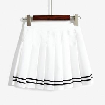 Корейская Летняя мода, юбка с высокой талией, бальная, британский стиль, кавайная, винтажная, короткая юбка в складку, юбки в стиле Харадзюку для женщин - Цвет: Белый