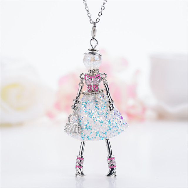 efb5a286233dd US $3.58 30% OFF|Lovely Dance girls Crystal Doll Necklace &pendant Maxi  White Handmade French Doll Big Statement Jewelry Women Fashion Necklaces-in  ...