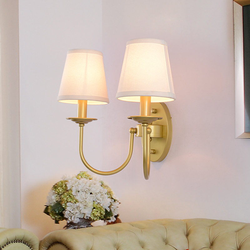 цена на American Imitation copper Double head Wrought Iron bedside lamp wall lamp With shade for Living room Bedroom Dining room