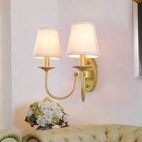 American Imitation copper Double head Wrought Iron bedside lamp wall lamp With shade for Living room Bedroom Dining room