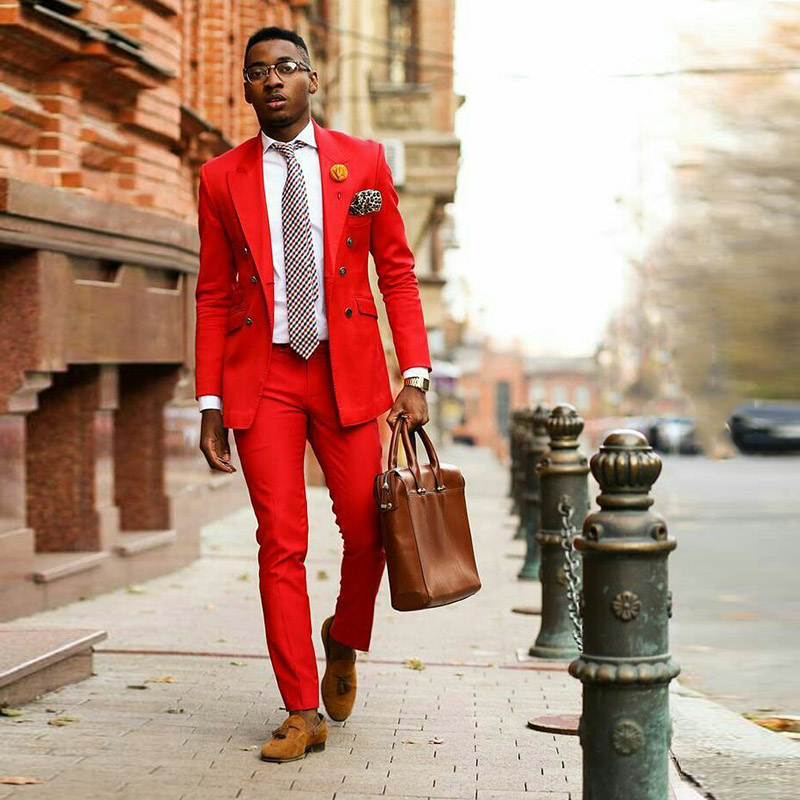 Red men suits smart casual jacket double breasted blazer suit men's tuxedos classic trouse for wedding prom stage party business