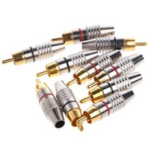 10 шт разъем rca для аудио и видеоблокировки кабеля позолоченный