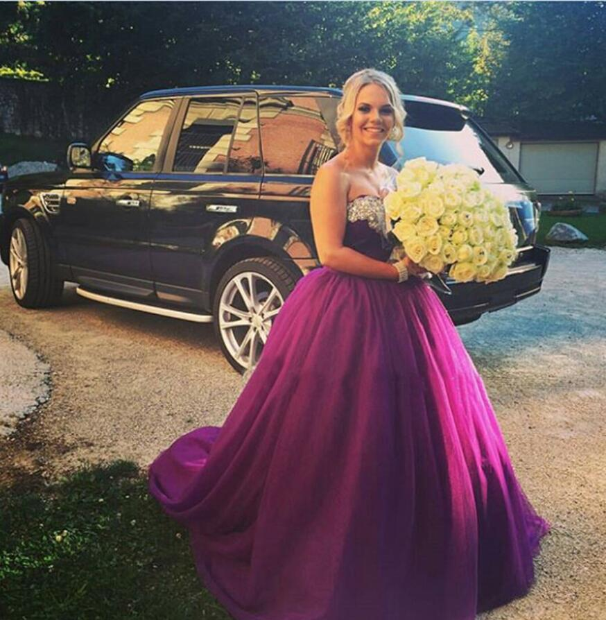 Sweetheart Beaded Crystals Ball Gown   Prom     Dresses   Purple Tulle Formal Party   Dress   Sweep Train Long Party Gowns Vestido de fiesta