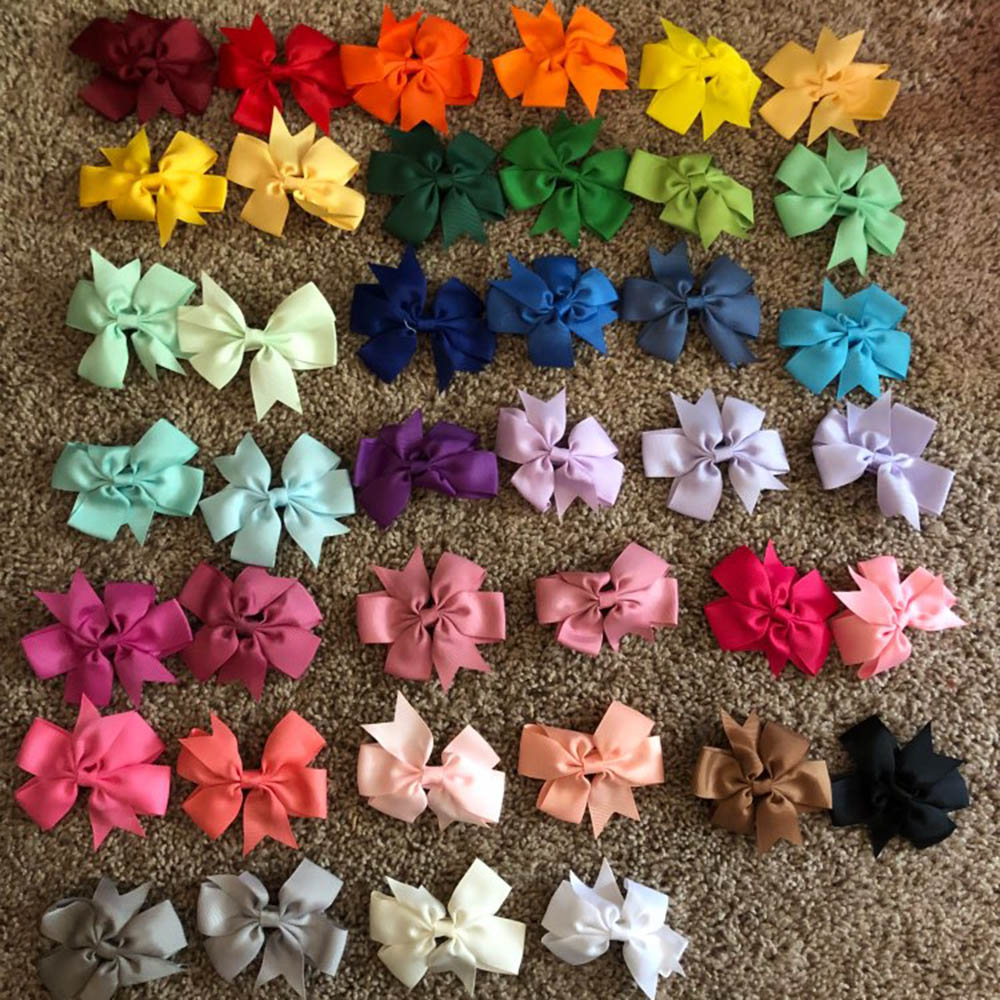 10pcs/lot 40 Colors Baby Ribbon Bows Clips Hairpin Children Girls Hair Bows Boutique Hair Clip   Headwear   Kids Hair Accessories