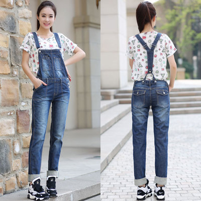 Free Shipping 2016 New Fashion Long Pants Jumpsuit And Rompers Denim Bib Pants Spring Casual Loose Trousers Spaghetti Strap S-XL