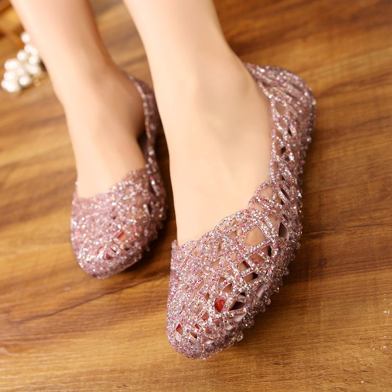 Women Sandals Summer Casual Jelly Shoes Sandals Hollow Out Mesh Flats Lady Girl Breathable Sandals 23-25cm