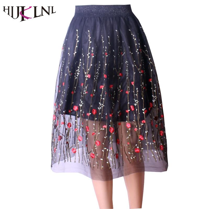 Длинные черные юбки с сеткой