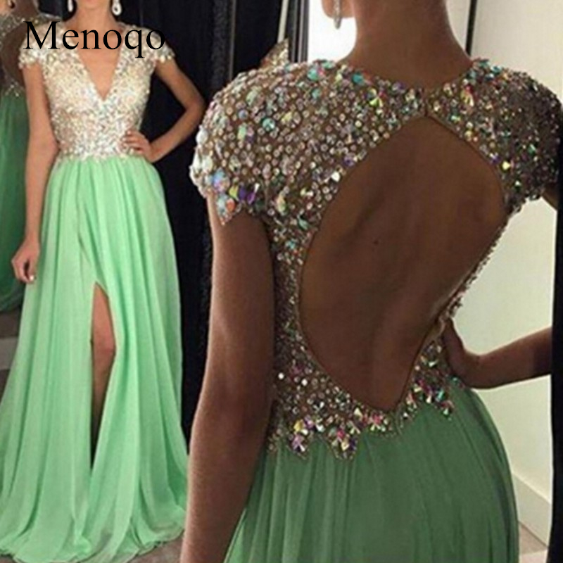 Real Images A line Evening Dress 2019 Elegant Luxury Side open Cap sleeve Beaded Long Evening