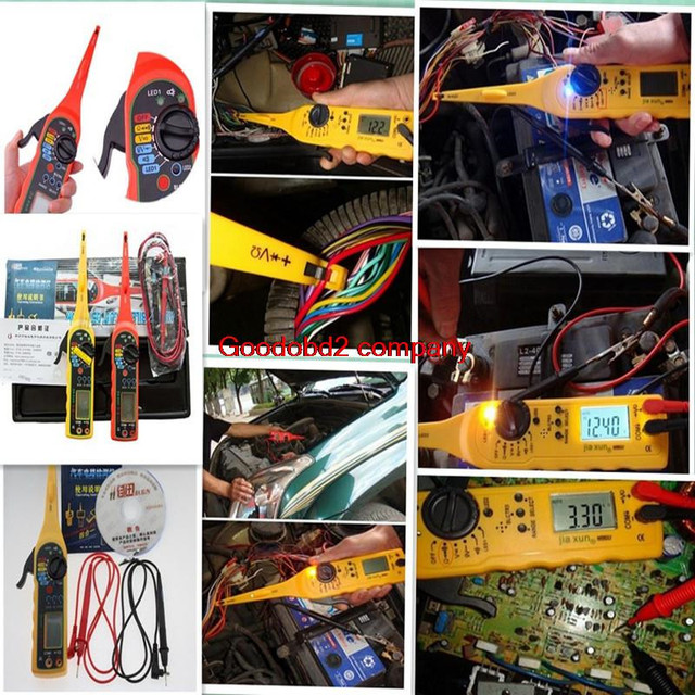 Power Electrical Multi-function Auto Circuit Tester Multimeter Lamp Car Repair Automotive Electrical Multimeter 0V-380V( Screen)