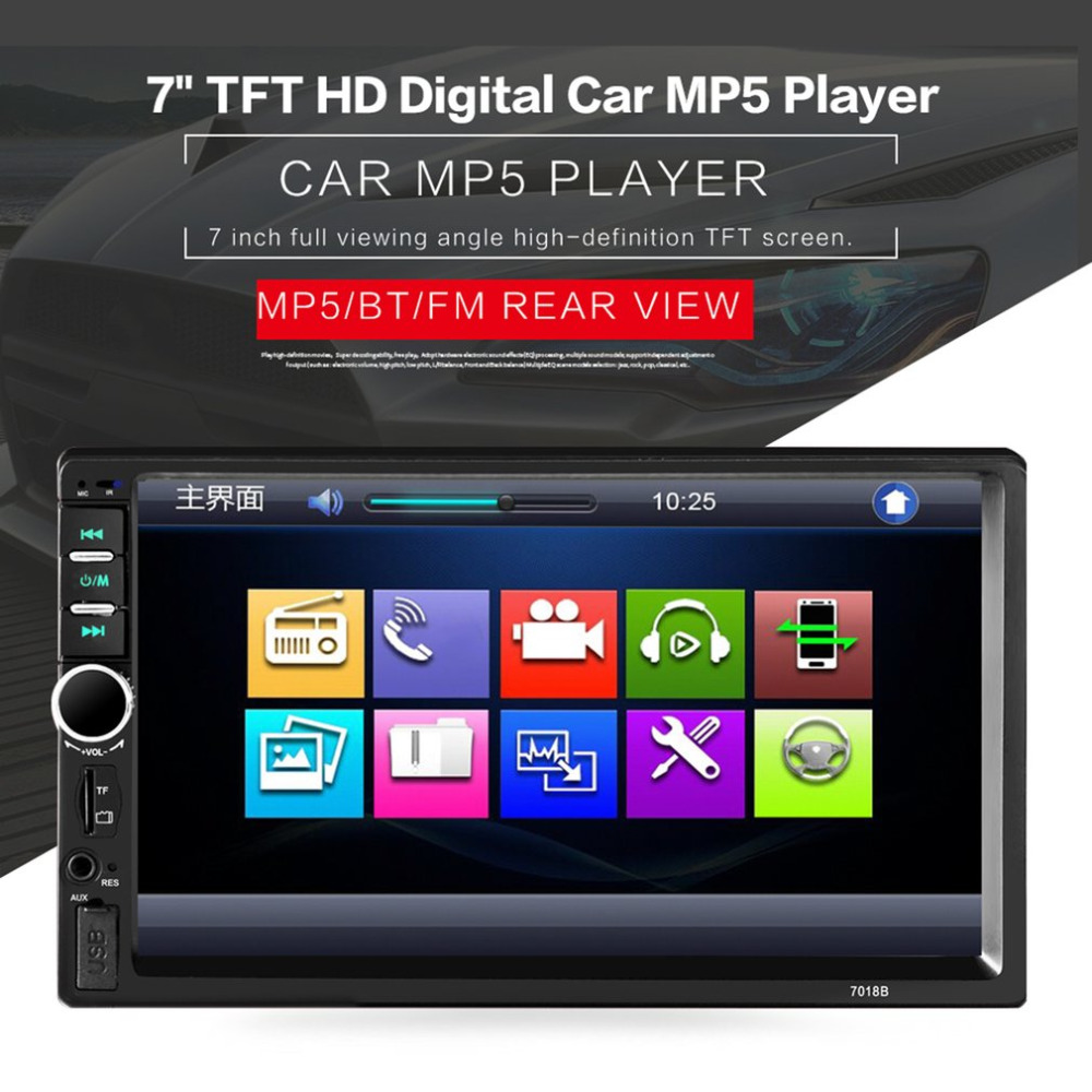 7 inch <font><b>Car</b></font> Radio Multimedia Audio Player Bluetooth <font><b>LCD</b></font> Display Touch Screen <font><b>Stereo</b></font> Music MP5 Player Hand Free FM Transmitter image