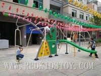 Сверхмощный джунгли, тренажерный зал, открытый Детские площадки оборудования для детей включает в себя слайд восхождение