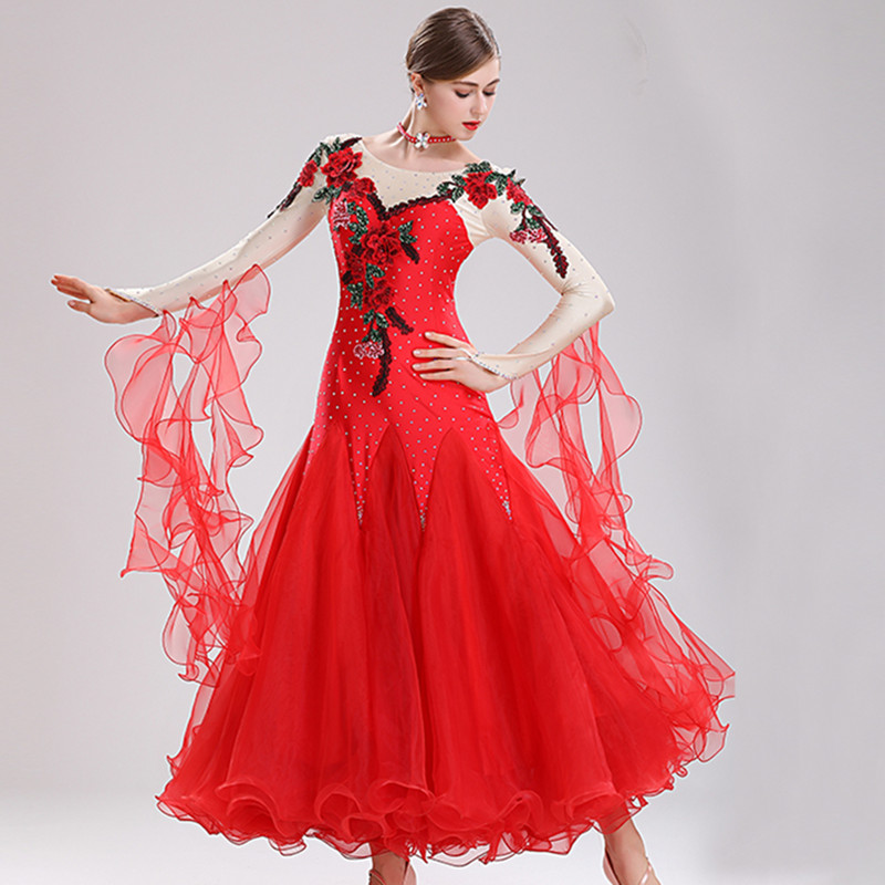 Standard Ballroom Dress Competition Women Waltz Dance Dress Standard Foxtrot Dress Dance Wear Women Dance Clothes Embroidery