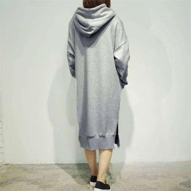 00f7b40ec03 Women s Long Sleeve Loose Casual Plus Size Sweatshirt Hoodies Long Maxi  Dress Green Gray
