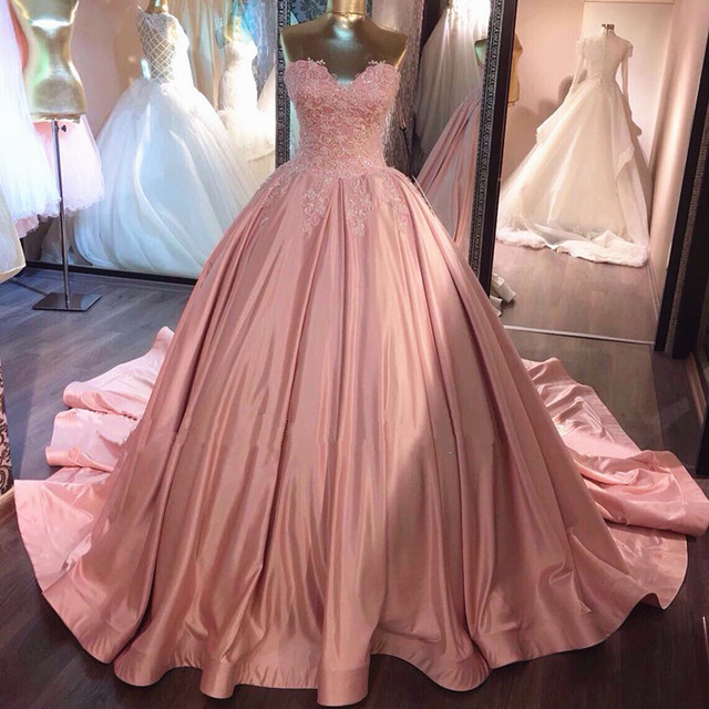 Real Photo Lace Appliques Sweetheart Pink Champagne Wedding Dresses ...