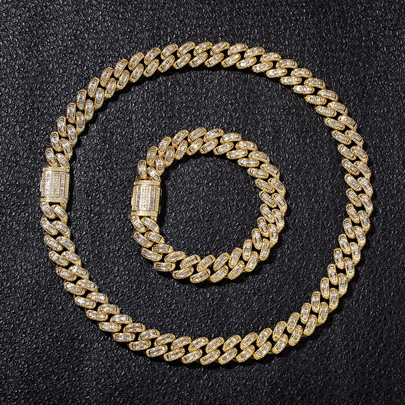 Hip Hop Micro Pave AAA Cubic Zirconia Bling Iced Out Square CZ Stone Cuban Link Chain