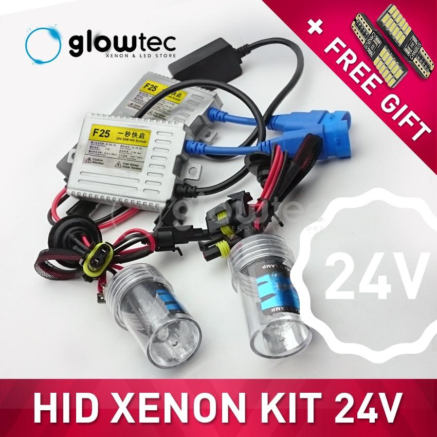 24V 55W светодиодный светильник HID XENON, тонкий балластный светильник H7 H3 H7 H8 H9 H11 9006 6000K 4300K 8000K, все цвета, бесплатный подарок GLOWTEC