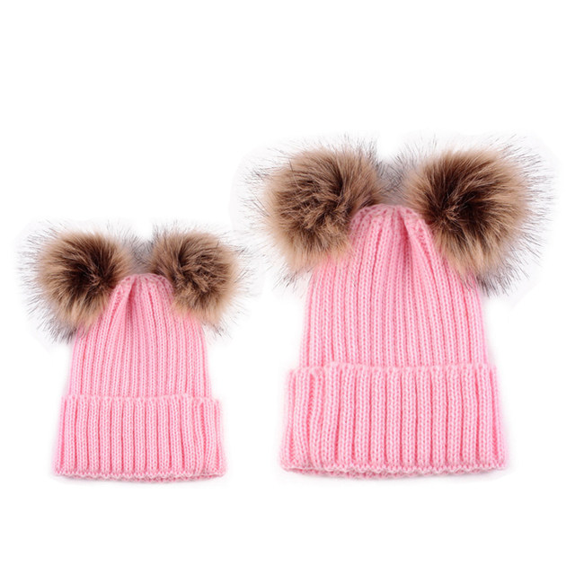be5d2638a58 2017 Adult Baby Beanies Double Faux Fur PomPom Hat Winter Women Boy Girls  Warm Hats Newborn Kids Cute Striped Knit Earmuffs Cap