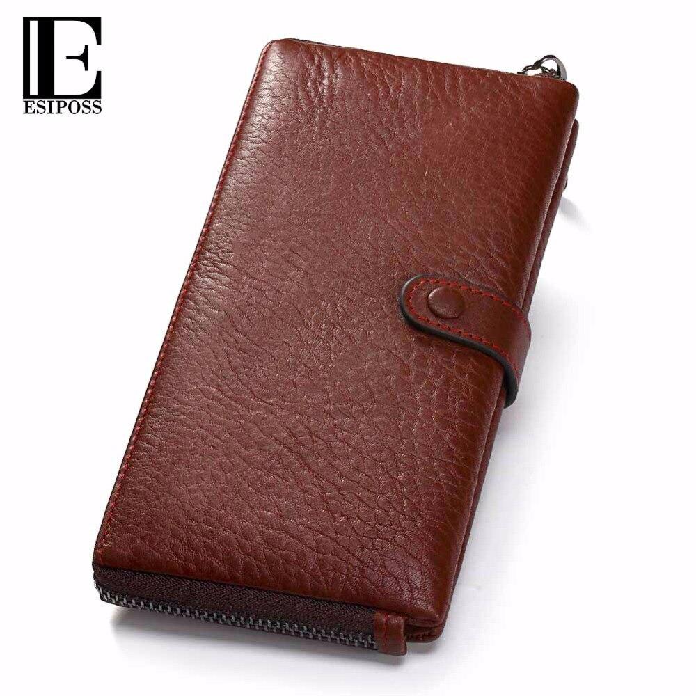 ESIPOSS Genuine Leather Women Wallet Female Clutch Bag Ladies Coin Purse Wallet Women Money Phone Bag Card Holder Zipper Poucht