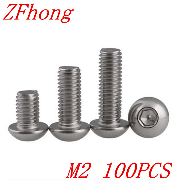 100PCS ISO7380 M2*4/5/6/8/10/12/14/16/20  2mm Hexagon Socket  Button Head Screw Stainless Steel a2-70 50pcs iso7380 m3 5 6 8 10 12 14 16 18 20 25 3mm stainless steel hexagon socket button head screw