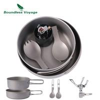 Boundless Voyage Outdoor Titanium Pot Pan Spoon Spork Stove Set Camping Hiking Cooking Burning Set With Folding Handle