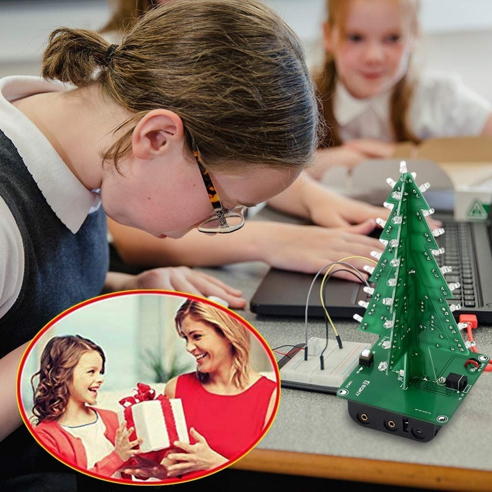 15pcs/pack DIY 3D Xmas Tree Electronic Soldering Assemble Kit 7 Color Flashing LED Science School Project Creative Season Gift
