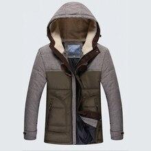 Мужчины Зимняя Куртка Плюс Размер Нового Прибытия Вскользь Тонкой Хлопка С Капюшоном Парки Casaco Masculino MA513