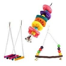 Качели, волнистый cockatiel жевать клетке гамак подвесные игрушки, животное попугай птица