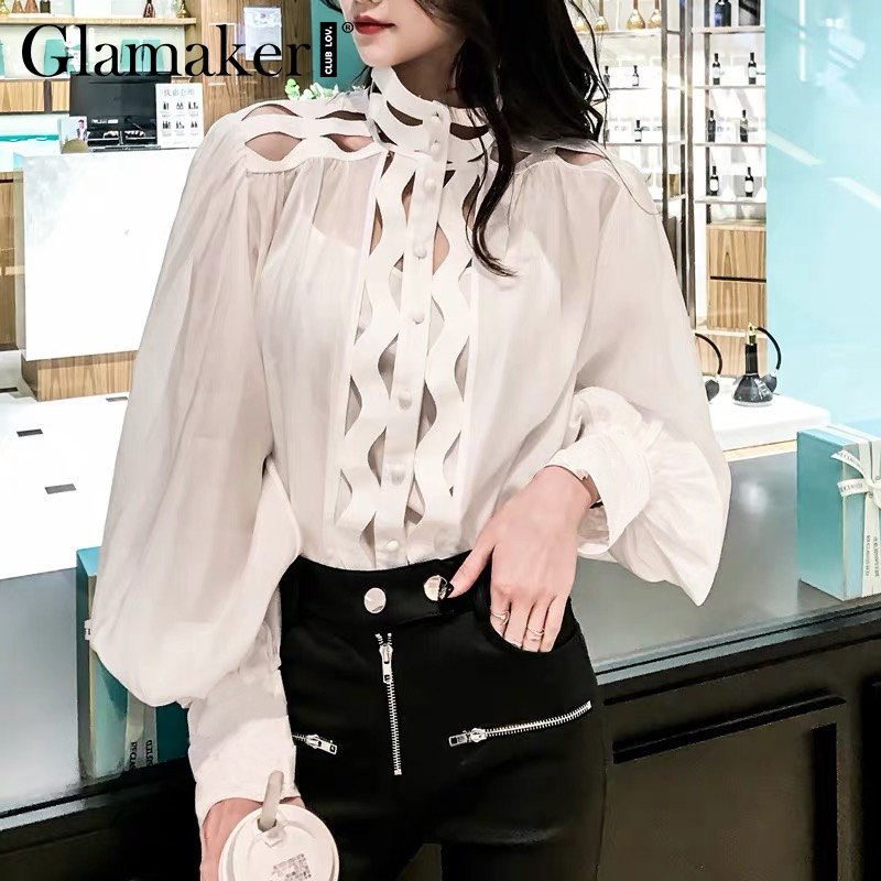 Glamaker Sexy hollow out white turtleneck   blouse     shirt   Women lantern sleeve elegant   blouse   Female summer fashion party top   shirt