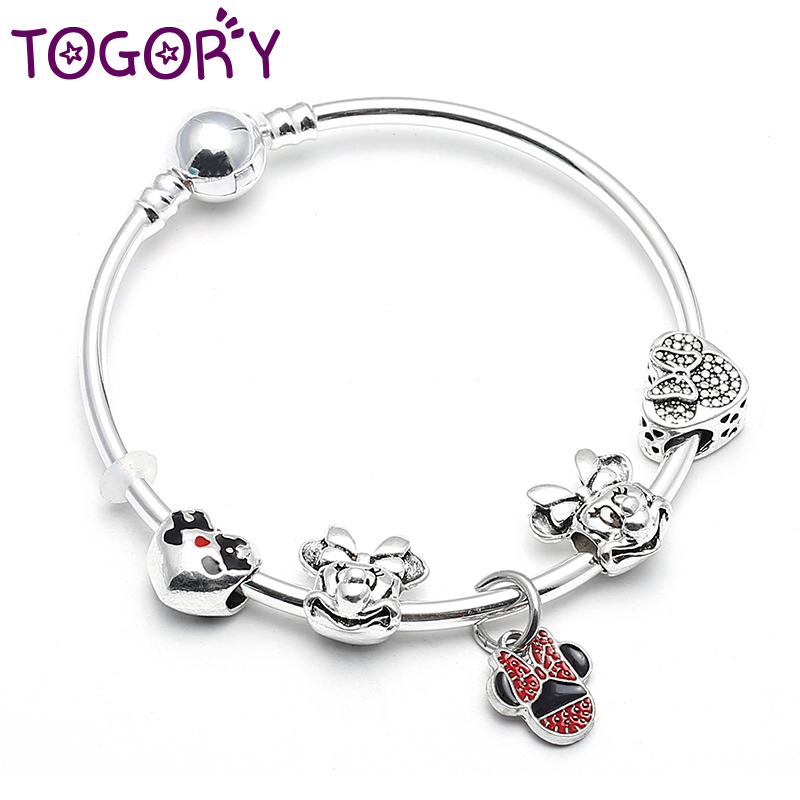 TOGORY Fashion New Silver Color Animal & Style <font><b>Charm</b></font> Strand <font><b>Bracelet</b></font> & Bangles For Women <font><b>Pan</b></font> <font><b>Bracelets</b></font> DIY Jewelry Making image