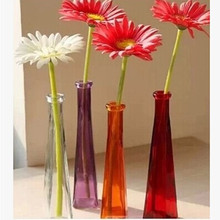 colorful shaped glass vase for home decor(set of 2) size 22.5(h)*4.8cm(w) floral device vase