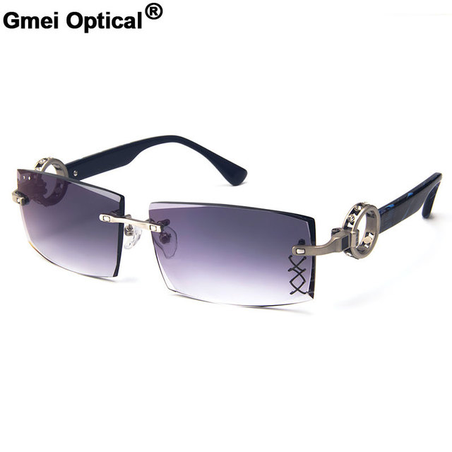 241ec56318 Gmei Optical 029 Gray Rimless Gradient Tinted Sunglasses with Diamond  Accessories for Men Sunwear