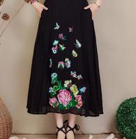 Embroidery Skirts National Trend Chinese Style Black White Beige A Line Skirts Mid Calf Summer Spring