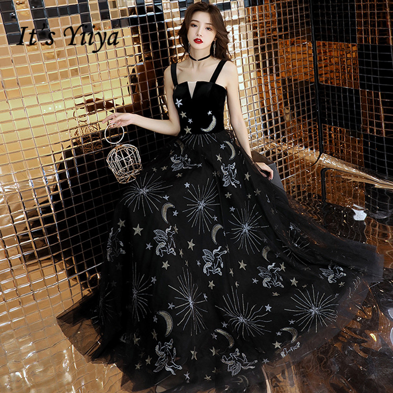 It's YiiYa Evening Dress 2018 Black Stars Sequined Embroidery Spaghetti Strapless A-line Dinner Gowns LX1284   Robe De Soiree
