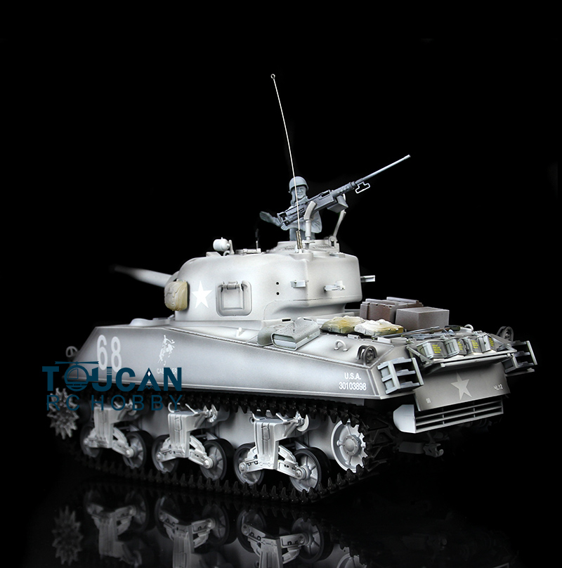 HengLong 1/16 Scale Winter Snow USA M4A3 Sherman RC Tank Model Metal Tracks Wheels 360 Degrees Rotation Turret 3898