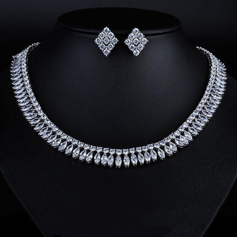 2015 Fashion New Design Bride Wedding Jewelry Set Fashion AAA CZ Crystal Necklace Earrings for Women GLDTN0139 женское платье fashion 2015 fashion 2015