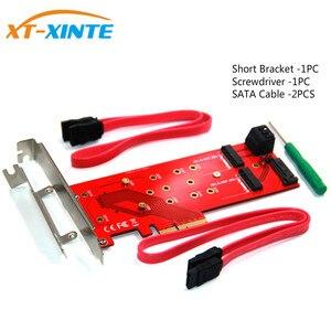 Image 2 - 3 interfejsy M.2 dla NVMe SSD dla NGFF na PCIE X16 Adapter M klucz 2x B kluczowa karta rozszerzająca karta rozszerzeń obsługa PCI Express 3.0 4X