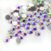 hot deal buy super nail glitter ss2-ss50 crystal ab flat back non hotfix nail art rhinestone 3d glass nail art decorations diy mix rhinestone