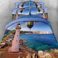 Free Shipping 3d 5pcs Balloon Lighthouse Star Castle Fireworks Castle Bedding Set Twin Full Queen King