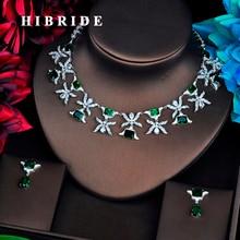HIBRIDE Luxury Design Green Cubic Zircon Jewelry Sets For Women Bridal Dress Dinner Fashion Accessories Bijoux