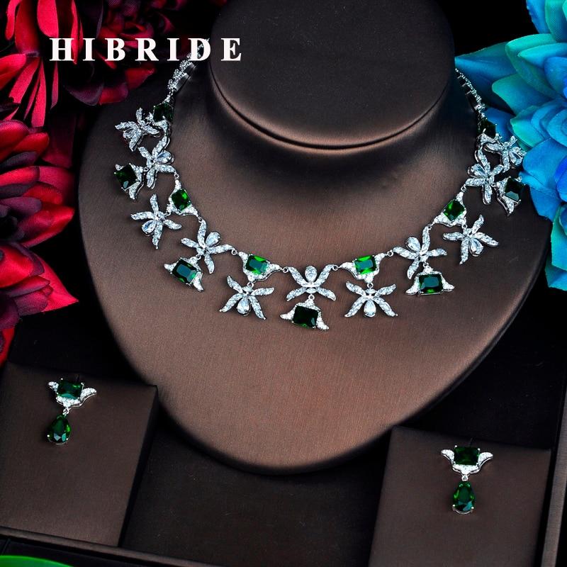 HIBRIDE font b Luxury b font Design Green Cubic Zircon font b Jewelry b font Sets