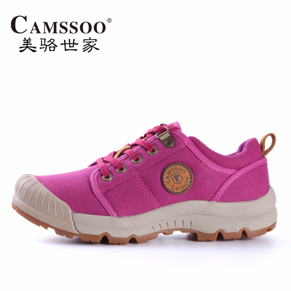 ФОТО CAMSSOO Womens Vogue Sports Canvas Outdoor Hiking Shoes Sneakers For Women Sport Breathable Climbing Mountain Shoes Sneaker